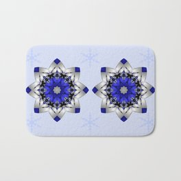 Magical snowflakes in blue, silver and grey Bath Mat