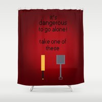 shaun of the dead Shower Curtains featuring Shaun of the dead - It's dangerous to go alone! by tukylampkin