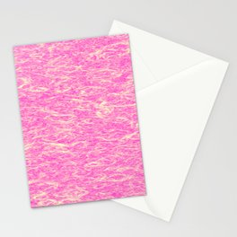 Horizontal metal texture of Iridescent highlights on pink waves. Stationery Cards