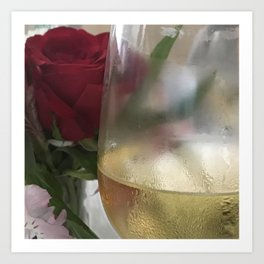 Wine and Single Red Rose Art Print