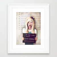 alice wonderland Framed Art Prints featuring Alice by adroverart