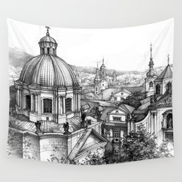 Prague over the rooftops Wall Tapestry
