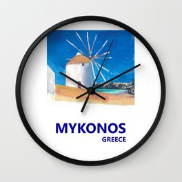 Mykonos Greece Windmill, Sea and Little Venice Travel Retro Poster Wall Clock