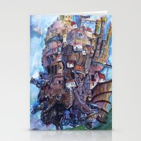 calcifer Stationery Cards featuring Howl's Moving Castle Painting by Little Miss Marikit