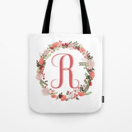 Personal monogram letter 'R' flower wreath Tote Bag
