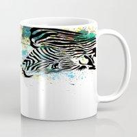 zebra Mugs featuring Zebra by Del Vecchio Art by Aureo Del Vecchio