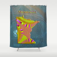 minnesota Shower Curtains featuring Minnesota Map by Roger Wedegis