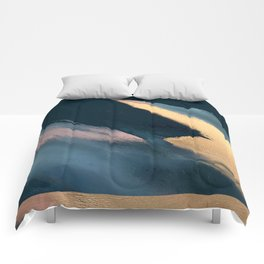 Ignite: colorful abstract in blue pink and gold Comforters