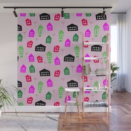 Abstract pink black green hand painted geometrical pattern Wall Mural