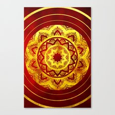 RED AND GOLD MANDALA FLOWER Canvas Print