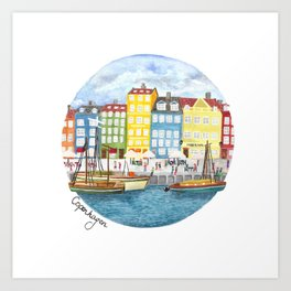 Copenhagen Watercolour Art Print