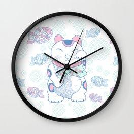 Manekinako and Tayaki Pattern / Estampado de Manekineko y Tayaki Wall Clock