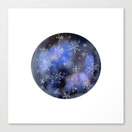 Watercolor Galaxy with Snowflakes Canvas Print