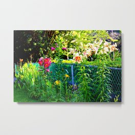 Lilies By The Fence Metal Print