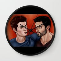 stiles stilinski Wall Clocks featuring Stiles Stilinski and Derek Hale - Nothing Rhymes With Orange by xKxDx