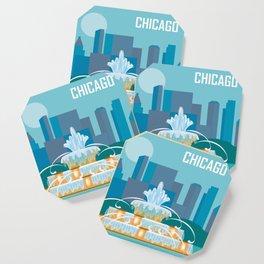 Chicago, Illinois - Skyline Illustration by Loose Petals Coaster