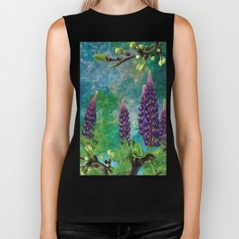 For The Love Of Lupines by annmariescreations Biker Tank