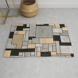 Random Pattern - Concrete and Wood Rug
