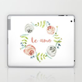 'I Love You' in Spanish - Floral Wreath Laptop & iPad Skin