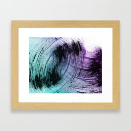 Wide Sweeping Black Brushstrokes with Aqua and Purple Framed Art Print