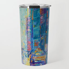 Streets of New York - palette knife urban city landscape by Adriana Dziuba Travel Mug