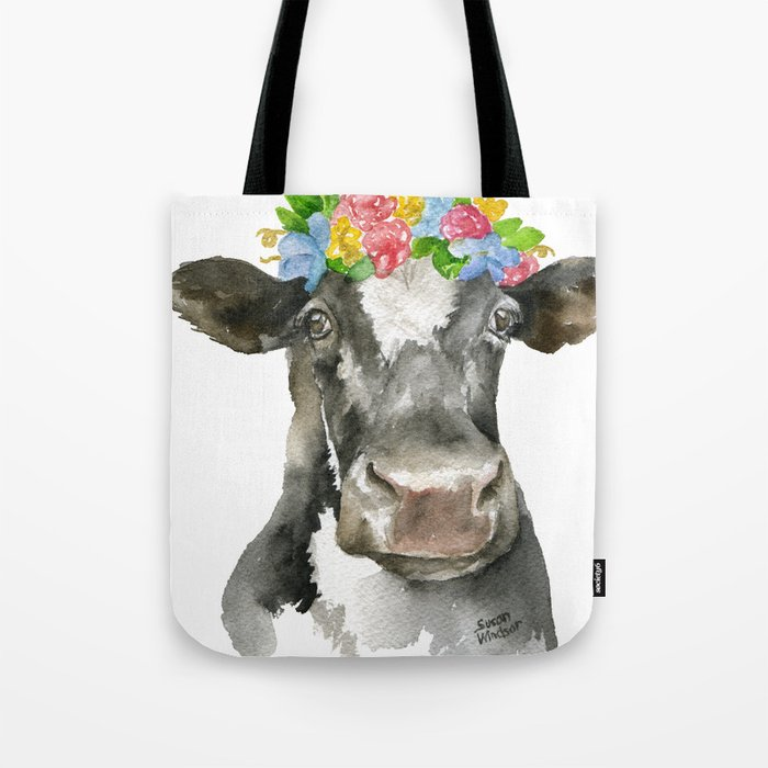 Black and White Cow with Floral Crown Watercolor Painting Tote Bag