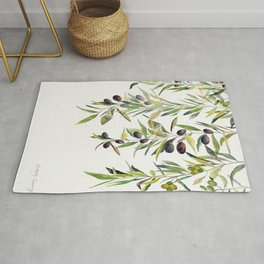 Olive Branch Watercolor  Rug