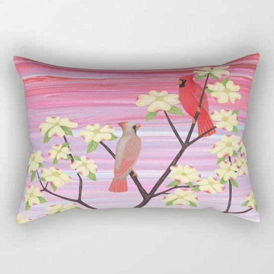 cardinals and dogwood blossoms Rectangular Pillow