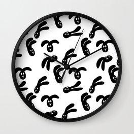 Flop Bunny Pattern Black White Wall Clock