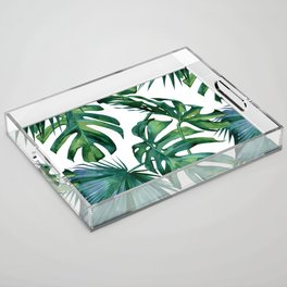 Classic Palm Leaves Tropical Jungle Green Acrylic Tray