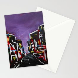 An Empty Street in an Asian City At Night Stationery Cards