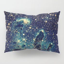 Pillars of Creation GalaxY  Teal Blue & Gold Pillow Sham