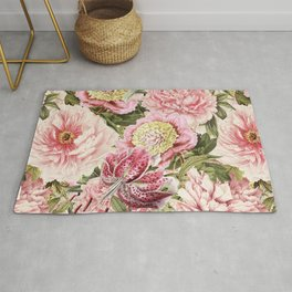 Vintage & Shabby Chic Floral Peony & Lily Flowers Watercolor Pattern Rug