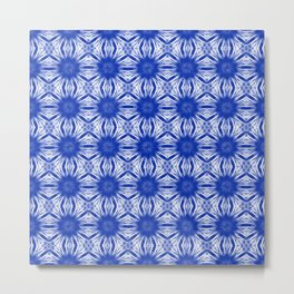 Sapphire Blue Floral Abstract Metal Print