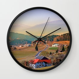 Country road in amazing panorama   landscape photography Wall Clock