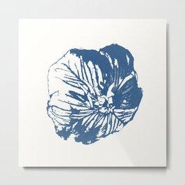 Mexican Primrose Minimal-Nature Blue Metal Print