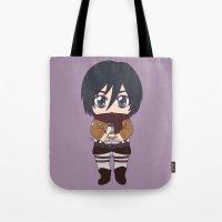 shingeki no kyojin Tote Bags featuring Shingeki no Kyojin - Chibi Mikasa Flats by Tenki Incorporated