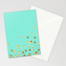 Gold Confetti on Mint Stationery Cards