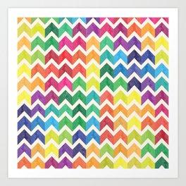 Watercolor Chevron Pattern IV Art Print