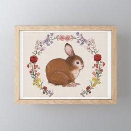 Bunny in Floral Wreath Framed Mini Art Print