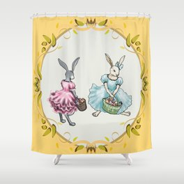 Dressed Easter Bunnies 2 Shower Curtain