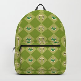 Gold horseshoe with clover Backpack