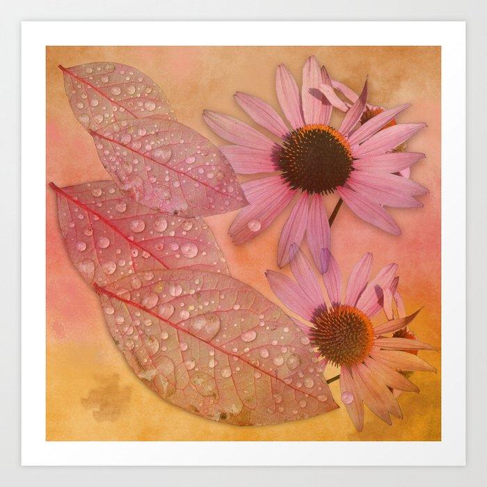 Raindrops on leaves and flowers Art Print