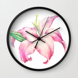 Watercolour Lily Wall Clock