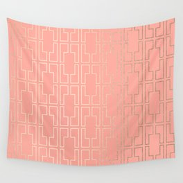 Simply Mid-Century in White Gold Sands on Salmon Pink Wall Tapestry