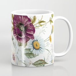 Colorful Wildflower Bouquet on White Coffee Mug