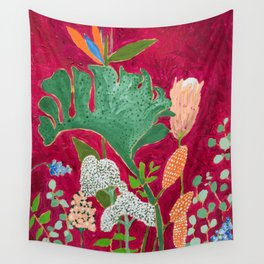 Fuchsia Pink Floral Jungle Painting Wall Tapestry