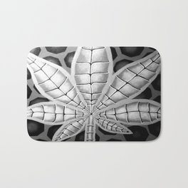 black and white potleaf Bath Mat
