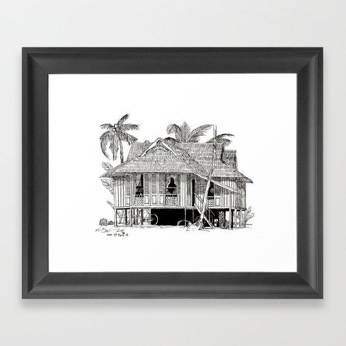 Rumah Kampung (Large) Framed Art Print by artliberates | Society6