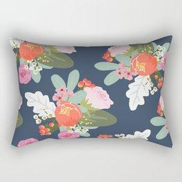 Navy Peach Foral Rectangular Pillow